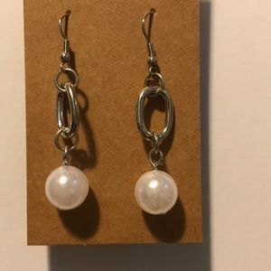 3/$15 silver and pearl earrings